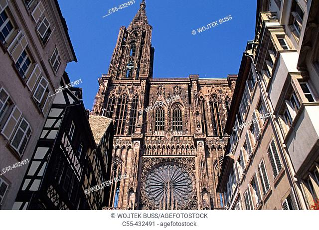 Notre Dame Cathedral. View from Mercière street. Strasbourg. Bas-Rhin. Alsace. France