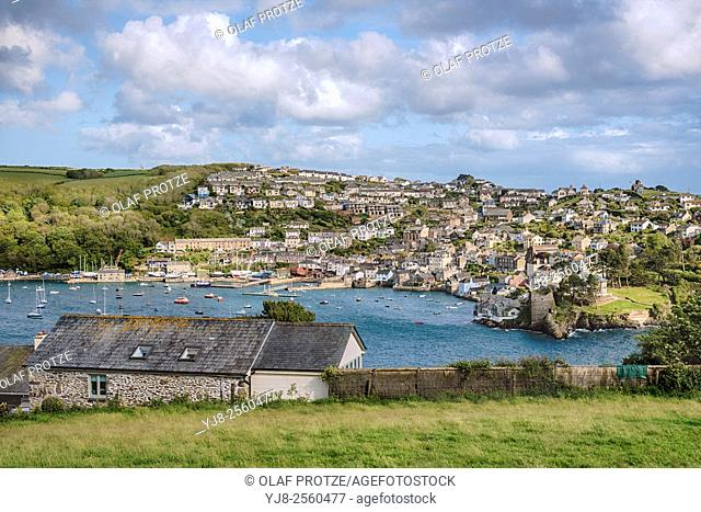 Scenic view from Fowey across the River Fowey at the coastal town Polruan, Cornwall, England, UK