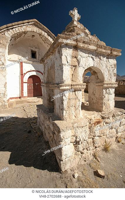 Colonial churh in Sajama. Oruro Deparament. Bolivia