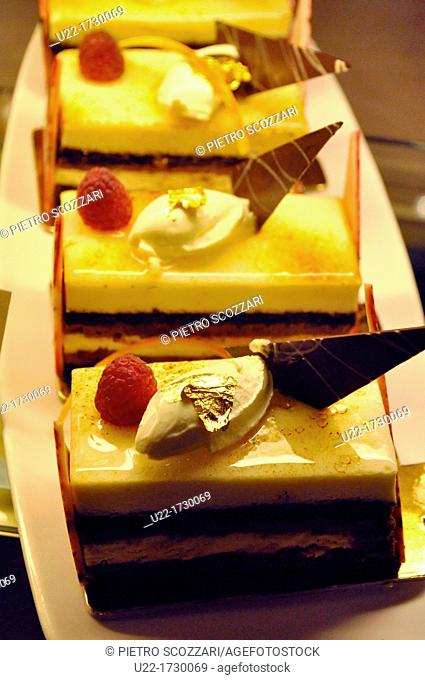 Abu Dhabi, United Arab Emirates: pastries with real gold leaves at The Emirates Palace