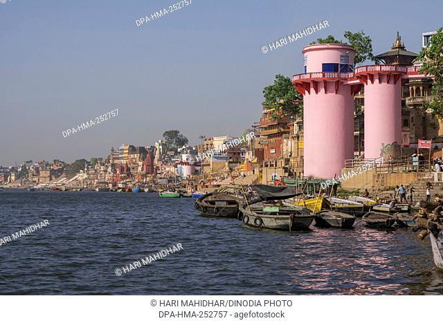 Boat in ganga river, varanasi, uttar pradesh, india, asia