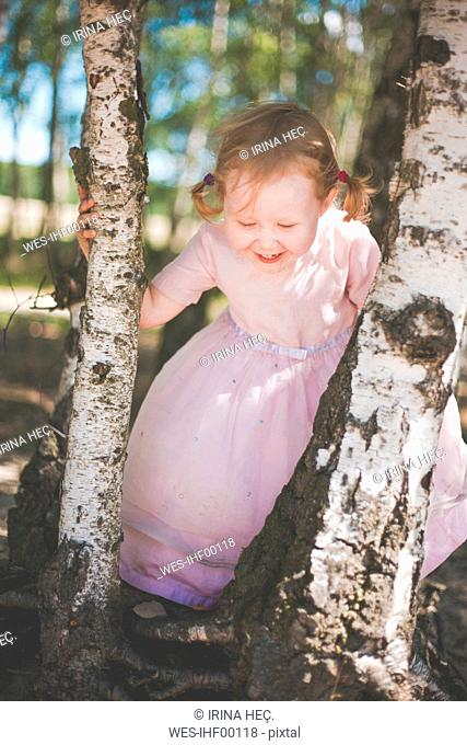 Happy little girl playing between birch trees