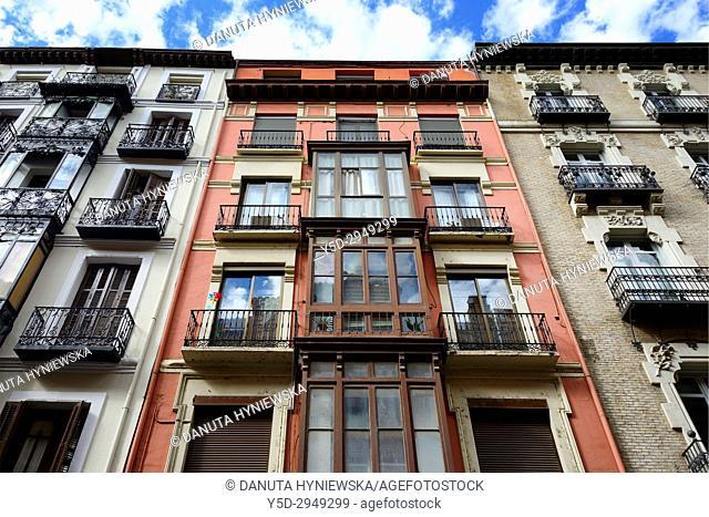 facades of residential buildings, historic part of Zaragoza, Calle Manifestacion, Saragossa, Aragón, Spain, Europe