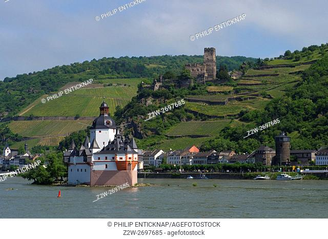 On the tiny Pfalz Island in the middle of the Rhine River near Kaub Germany, stands Pfalzgrafenstein Castle. Built in 1327 by Ludwig the Bavarian