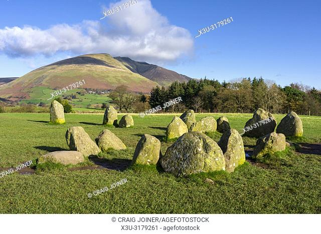 The ancient Castlerigg Stone Circle with Blencathra fell beyond in the English Lake District National Park, Cumbria, England