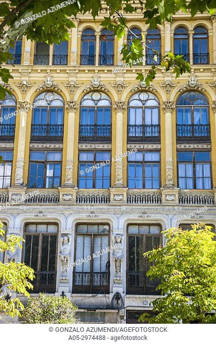 Buildings, 19 and 20 th centurys, at Acera de Recoletos Street, Valladolid, Castilla y Leon, Spain