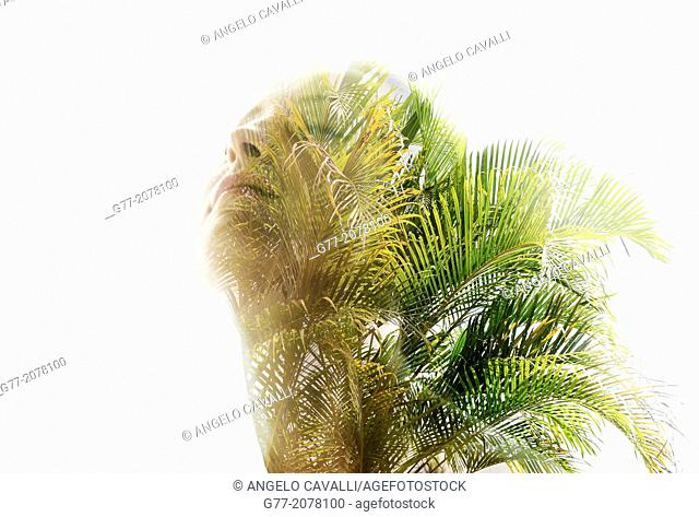 Double exposure of a young woman