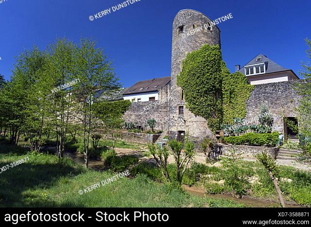Europe, Luxembourg, Echternach, Ruins of ancient City Walls from Rue des Benedictins