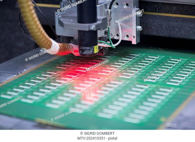 Close-up of circuit board in industry, Hanover, Lower Saxony, Germany