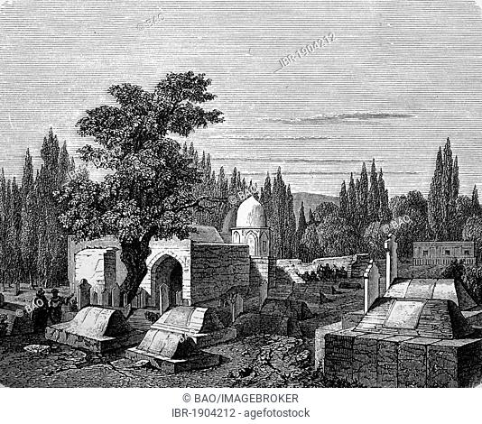 Caliph's tomb in Damascus, Syria, historical woodcut, 1870