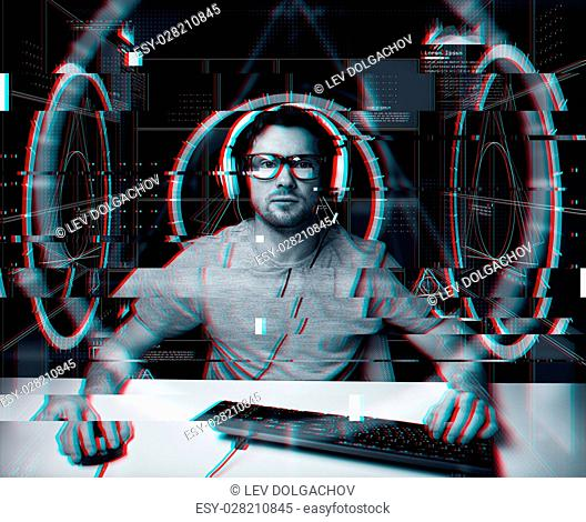 technology, cyberspace, programming and people concept - hacker man in headset and eyeglasses with pc computer keyboard over virtual projections over glitch...