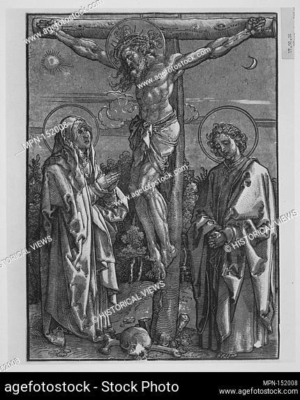 Christ on the Cross with the Virgin and Saint John. Artist: Dürer-School (German, first half 16th century); Date: 1500-1550; Medium: Chiaroscuro woodcut printed...