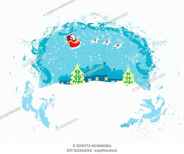 Santa Claus flying over city - Abstract Christmas card