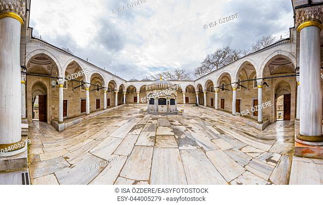 High Resolution panoramic exterior view of Valide-i Cedid Mosque located in Uskudar,Istanbul,Turkey. 03 January 2018