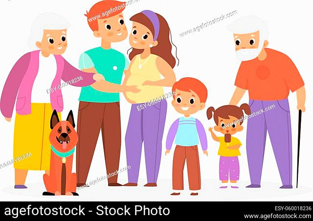 Big family portrait. Happy people characters group, different ages relatives, parents and children with grandparents and pet