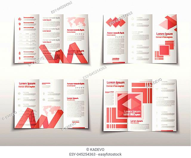 fold set technology annual report brochure flyer design template vector, Leaflet cover presentation abstract geometric background, layout in A4 size
