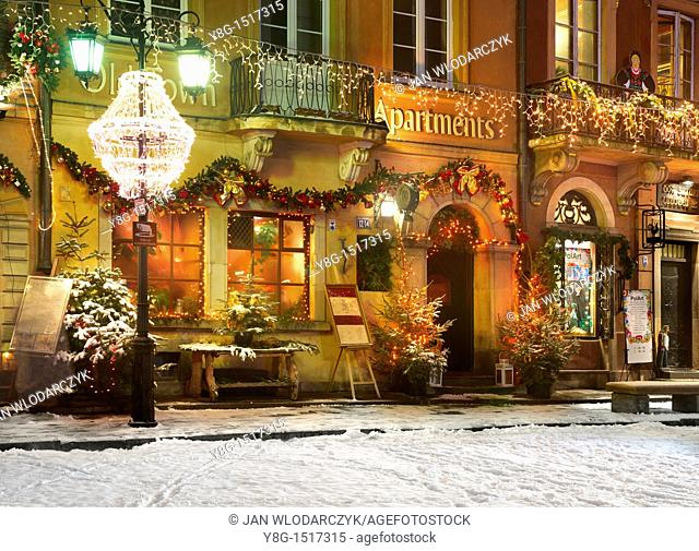 Warsaw, Old Town Square in Christmas time, Poland, Europe