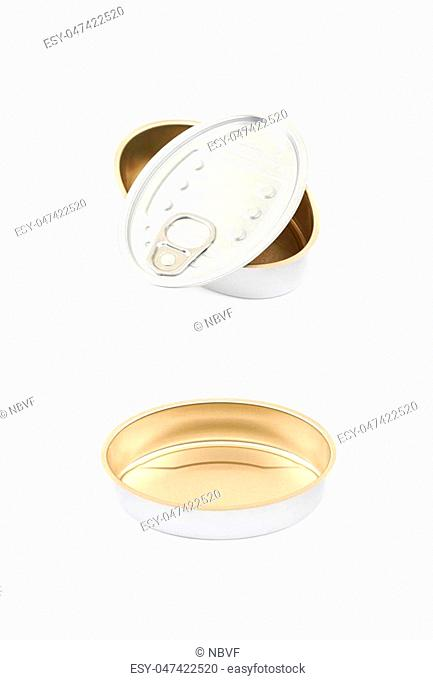 Metal tincan isolated over the white background , set of several different foreshortenings