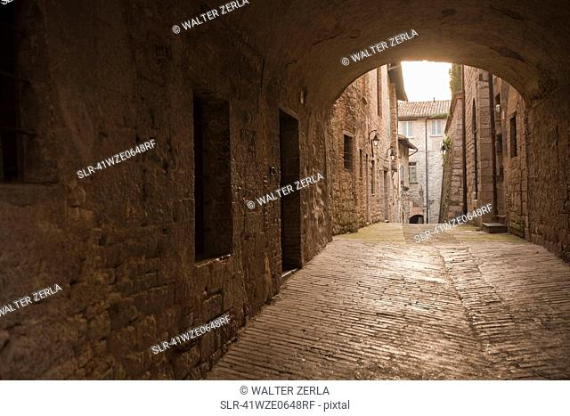 Cobbled archway in village