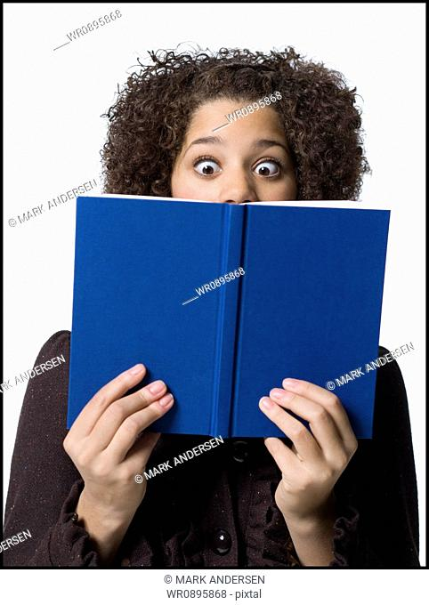 Girl with hardcover book