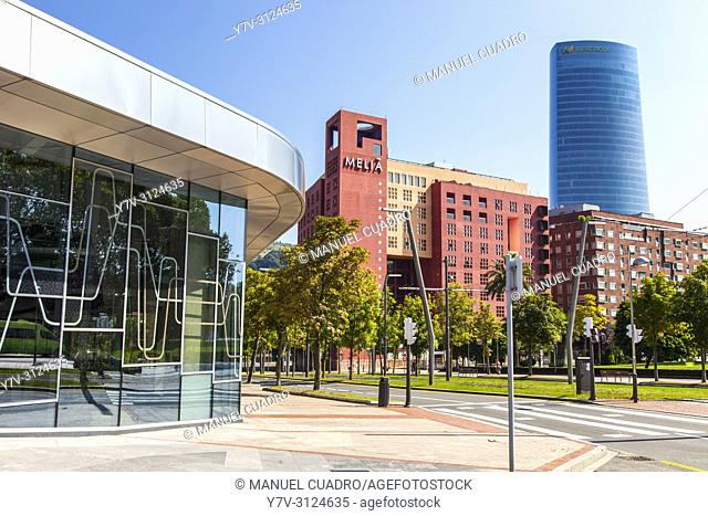 Torre Iberdrola and Hotel Melia. Bilbao, Biscay, Basque Country, Spain