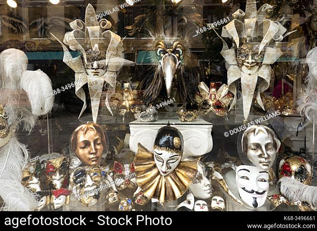 masks in a shop window, Venice, Italy