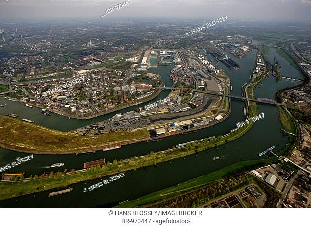 Aerial photo, DuisPort, inland port, Ruhr estauary, Rhine-Herne canal, Ruhrort, Duisburg, Ruhr area, North Rhine-Westphalia, Germany, Europe