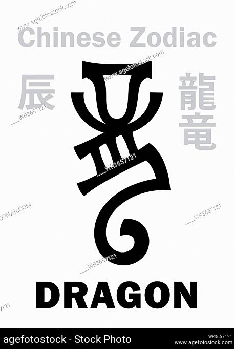 Astrology Alphabet: DRAGON [?] sign of Chinese Zodiac. Also: Azure Green Dragon (Qing Long), Legendary benevolent beast, Guardian of The East