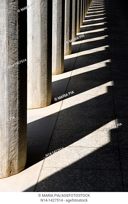 Stoa of Attalos, Attalus, column's detail, one of the most impressive stoæ in the Athenian Agora, Athens, Greece