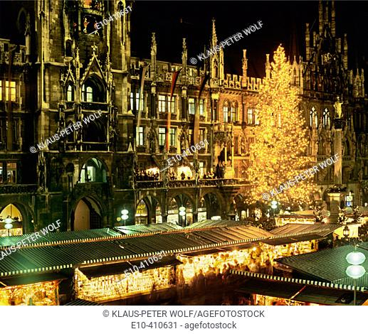 Christkindlmarkt at the Marienplatz Christmas Fair and New City Hall Munich Upper Bavaria Germany