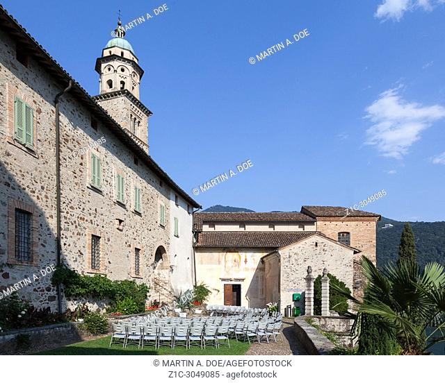 Chiesa Santa Maria del Sasso (St. Mary of the Rock Church) with the outdoor prepared for a summer concert. Morcote, Switzerland