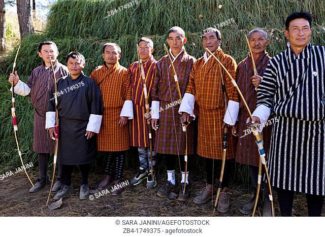 Archery, Bhutan's national sport, Thimphu, Bhutan, Asia