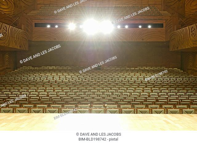 Spotlights on stage in empty auditorium