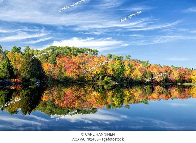 Autumn reflections, Vermilion River, Whitefish, Ontario, Canada