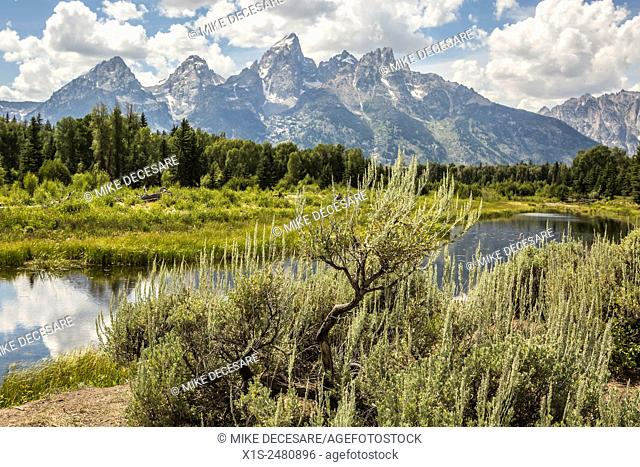 Grand Teton National Park in Northwest Wyoming is famous for its towering mountains and natural beauty