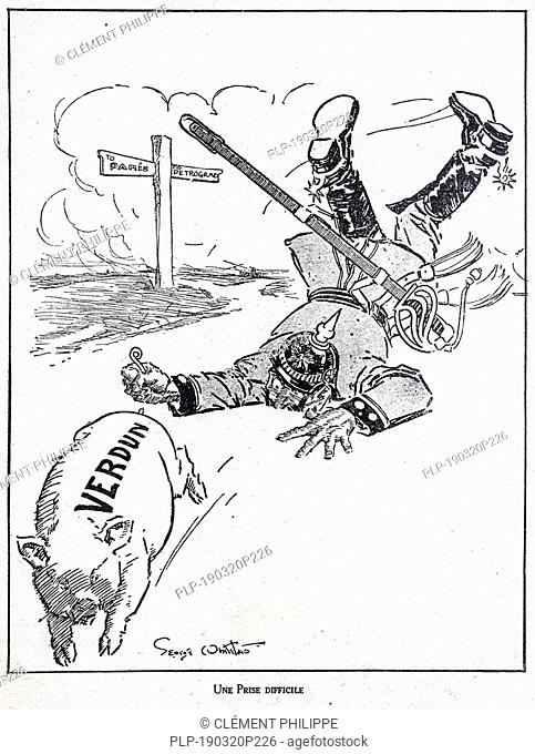 Une Prise Difficile, WW1 caricature by illustrator George Whitelaes showing German Kaiser Wilhelm II chasing pig at the Verdun battlefield