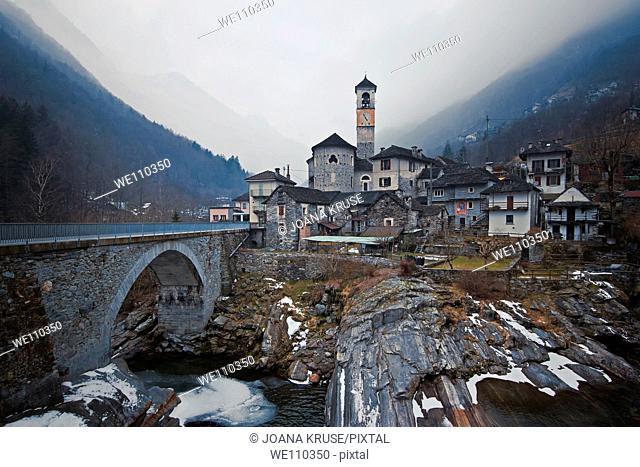 Lavertezzo in the Valle Verzasca, Ticino, in the winter time