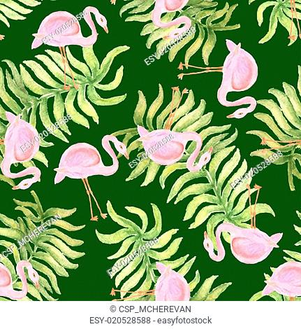 Watercolor seamless pattern with flamingo bird
