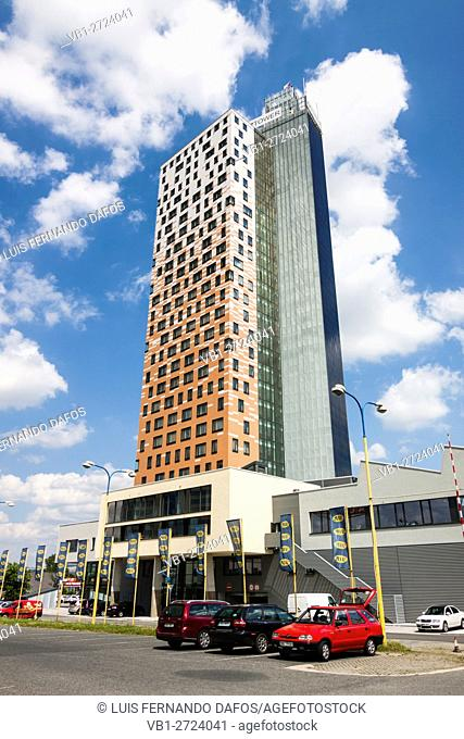AZ Tower skyscraper, the tallest building in the Czech Republic at 111 m. Brno, Czech Republic
