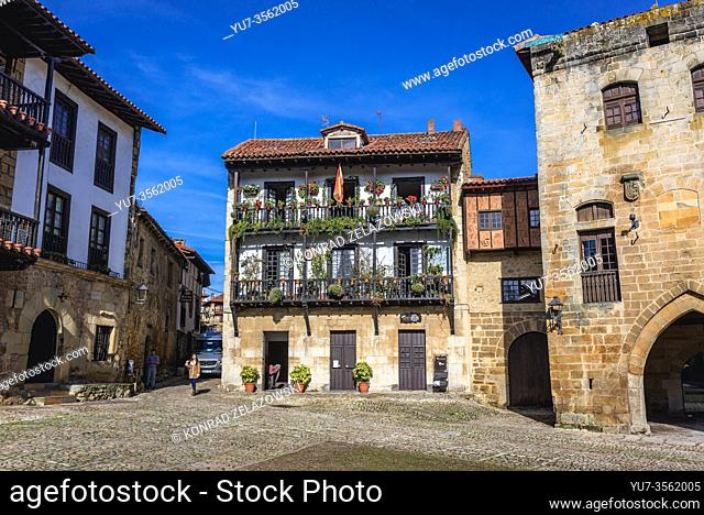 Plaza Mayor - main square in Santillana del Mar historic town located in Cantabria autonomous community in northern Spain