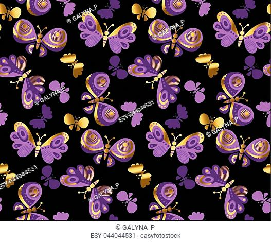 Summer night butterfly vector illustration. Concept luxury natural seamless design for background, wrapping paper