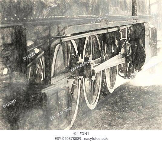 steam locomotive wheels close up in la speiza
