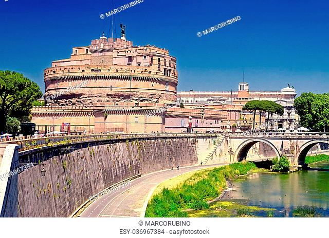 St Angelo Castle over the Tevere River, Rome