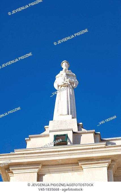 The Statue on the balustrade of the Basilica of Our Lady of the Rosary, Santuario de Fatima, Fatima Shrine, Sanctuary of Our Lady of Fatima, Fatima, Ourem