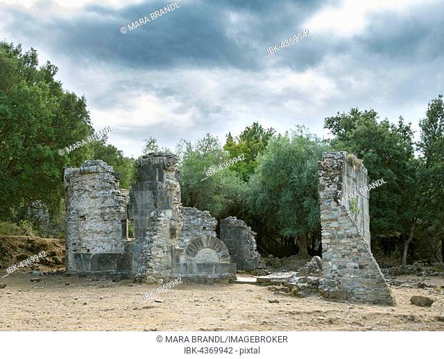Ruin of the church of Santa Maria di Riscamone, Cloudy Sky, Valle-di-Rostino, Haute-Corse, Corsica, France