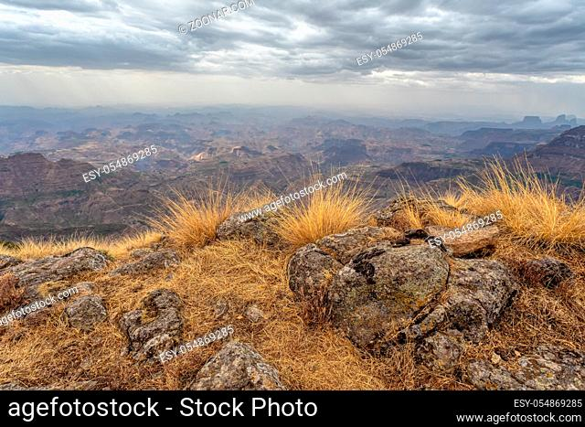Panorama of beautiful Semien or Simien Mountains National Park landscape in Northern Ethiopia near lalibela and Gondar. Africa wilderness