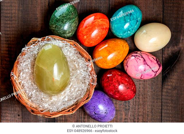 A colorful group of marble easter eggs