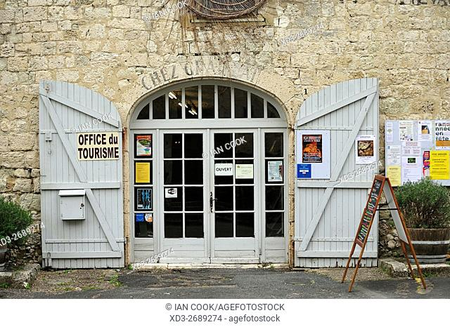 entrance to tourism office, Issigeac, Dordogne Department, Aquitaine, France