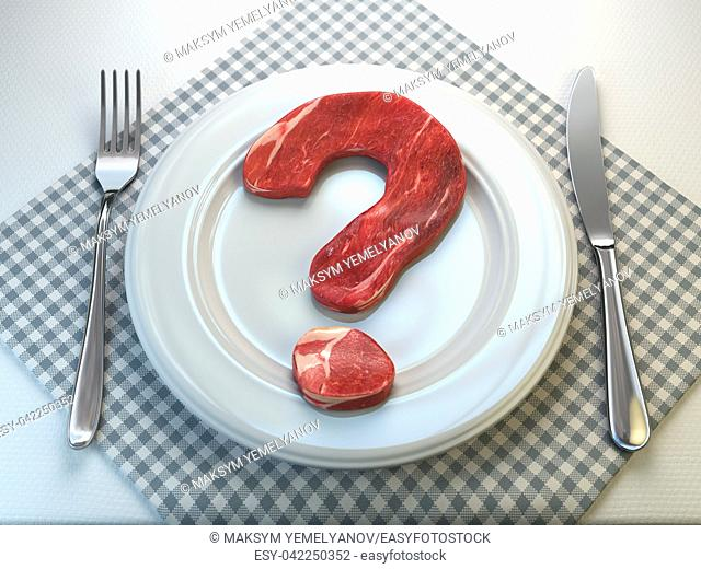 Plate with raw meat in the shape of a question mark. Concept of diet and healthy nutrition or to eat a meat or to be vegetarian concept