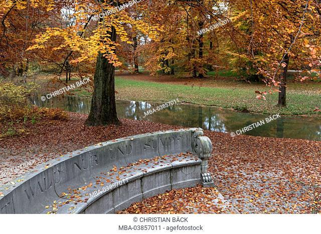 Stone bench in the English garden, Munich, Lehel, Upper Bavaria, Bavaria, Germany